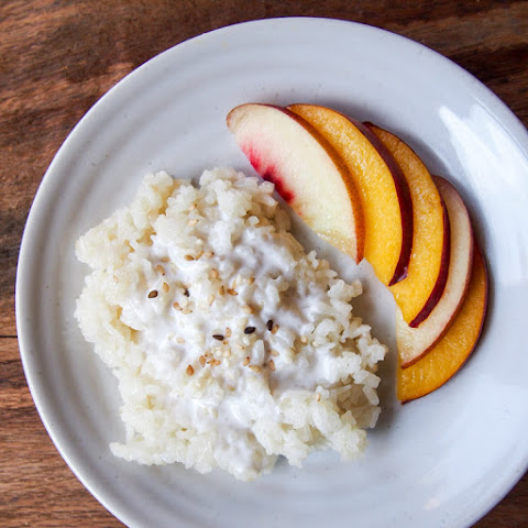 Coconut Milk Sticky Rice with Peach