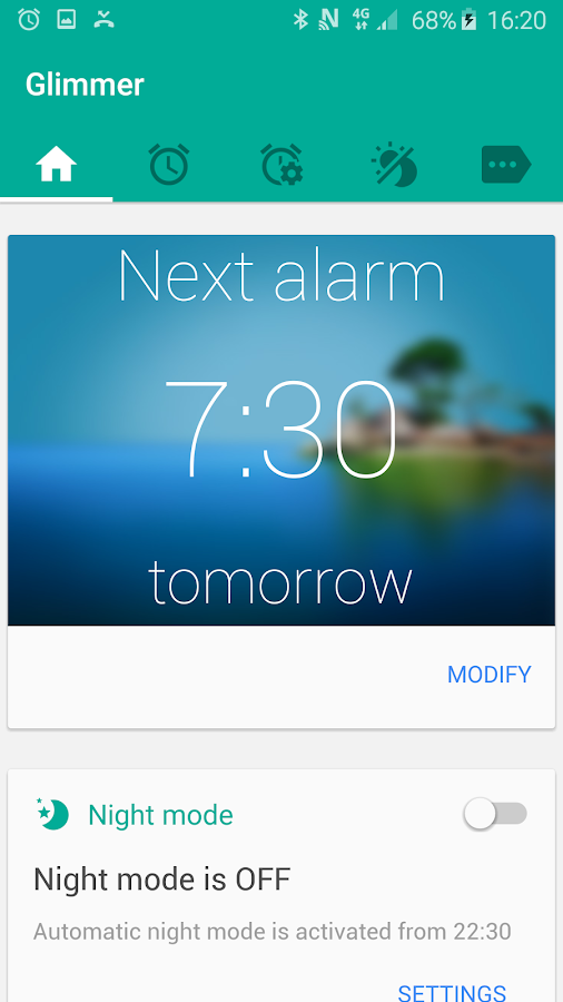 Glimmer (luminous alarm clock) Screenshot 0