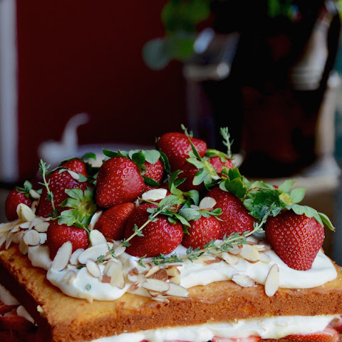 Naked Strawberry Almond Cake with Honey Rose Cream Cheese Frosting