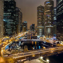 Along the Chicago River by Jim Hamel - City,  Street & Park  Night ( illinois, night, chicago, city, river )