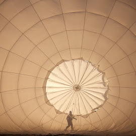 balloon inflation by Mike Mulligan - Transportation Other ( aviation, dawn, silhouette, balloon, figures )