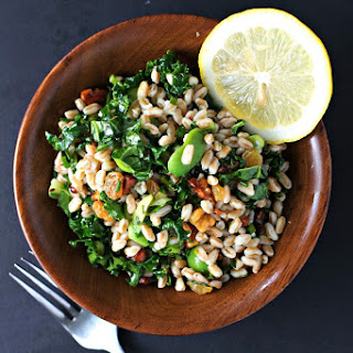 Kale salad with Farro, Golden Raisins and Walnuts