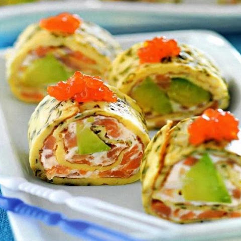 Rolls From Omelet With Avocado And Salmon