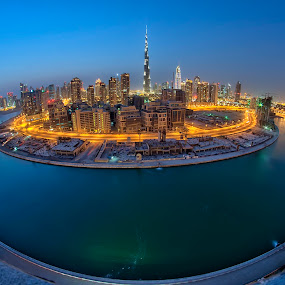 Round the World by Andrew Madali - City,  Street & Park  Skylines ( fisheye, dubai, blue hour, uae, night shot )