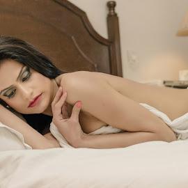 The Wait by Ravinder Saini - Nudes & Boudoir Boudoir ( boudoir photography, bold, sexy, nude, backless, bed, boudoir, beautiful, sensual )