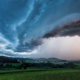 Summer storm by Matic Cankar - Landscapes Weather ( thunder, clouds, orange, thunderstorm, blue, sunset, summer, yellow, storm, rain )