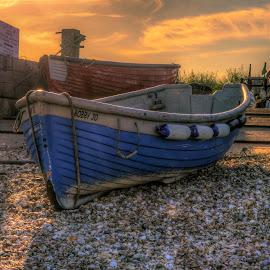 Boat by Bela Paszti - Transportation Boats ( water, uk, england, blue, sunset, sea, selsey, nikon, boat )