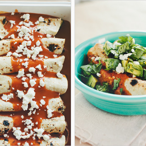 ROASTED ZUCCHINI, BLACK BEAN + GOAT CHEESE ENCHILADAS