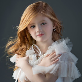 Aubrey by Carole Brown - Babies & Children Child Portraits ( caplet, wind blown hair, little girl, red hair, blue eyes )