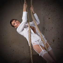 Ropes by Brian Pierce - People Portraits of Women ( barn, kath, rope, gunwallowe,  )