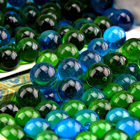 Marbles by Cal Brown - Artistic Objects Glass ( blue, green, marbles, glass, artistic objects, close up,  )