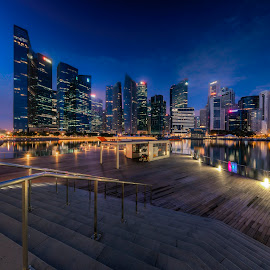 by Gordon Koh - City,  Street & Park  Vistas ( reflection, city, dusk, night, asia, city park, skyline )