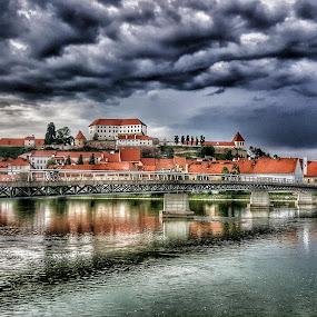 by Andreja Svenšek - City,  Street & Park  Skylines ( clouds, home, sky, blue, drava, slovenia, old town, old city, castle,  )
