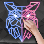 Neon Draw Glowing Poly Doodles - Animals for kids Icon