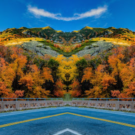 Millcreek Canyon by Brandon Montrone - Digital Art Places ( mirrored reflections, mirror, abstract, mountain, color, autumn, digital art, beautiful, fall, canyon, symmetry, fractal, leaves )
