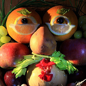 Fruitface by Olga Charny - Food & Drink Fruits & Vegetables ( face, orange, pwcfruit, apple, pear, arcimboldo )