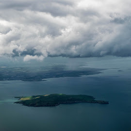 Ireland's eye by Ovidiu Sumănar - Landscapes Cloud Formations ( water, shore, clouds, sea, aerial, rain, island )