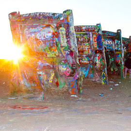 Cadillac ranch by Scott Thomas - Landscapes Travel ( #cadillacs, #field, #sunset, #cars, #travel )