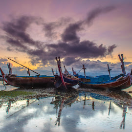 Sunrise  by Bobo Tandiono - Transportation Boats ( boats, cloud )
