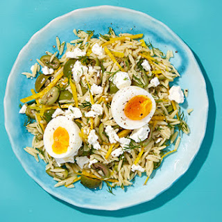 Orzo with Beets, Olives, Feta, and Soft-Boiled Eggs