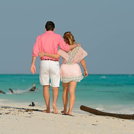 Beach Walk by Andrew Morgan - Wedding Bride & Groom ( zanzibar, sigma, wedding, travel, beach wedding, destination, mnemba )