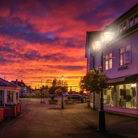 Street at Sunset by IP Maesstro - City,  Street & Park  Street Scenes ( sky, sunset, street, sunrise, landscape, city )