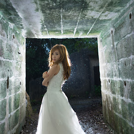 Tunnel Bride by Billy C S Wong - Wedding Bride & Groom ( bride and groom, bride, groom, rain, tunnel )