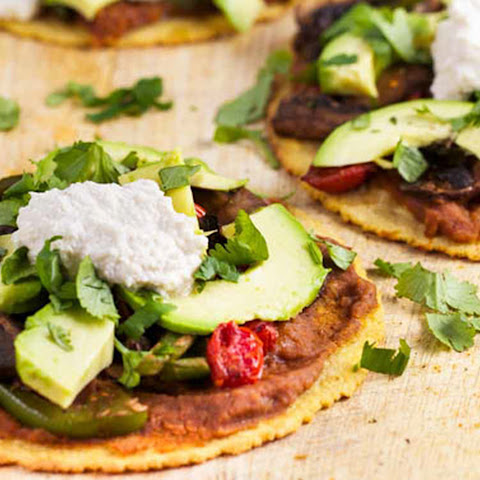 Portobello Tostadas With Chipotle Cream [Vegan, Gluten-Free]