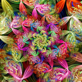 Woven Ribbon Spiral by Peggi Wolfe - Illustration Abstract & Patterns ( abstract, wolfepaw, jwildfire, gift, unique, bright, illustration, woven, spiral, fun, digital, print, décor, pattern, color, ribbon, unusual, fractal, rainbow )