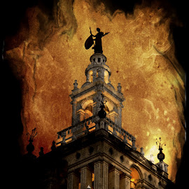 Burning of the Bell Tower  by Richard Wilson - Digital Art Places