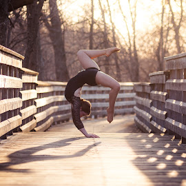 Sunset circus by Norbi Whitney - Sports & Fitness Other Sports ( sunset, lines, flexible, spring, handstand, shadows )