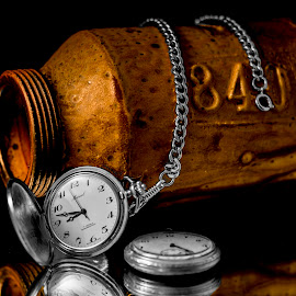 840 or 848 by Greg Bennett - Artistic Objects Still Life ( time, pocket watch, 840, black and white, still life, silver and gold, pottery, pocket watches, artistic objects, 848, silver chain, retirement pocket watch )