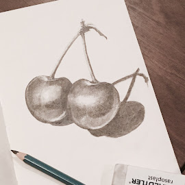 Cherries by Arnaud Charil - Drawing All Drawing ( pencil, paper, cherries, black, drawing )