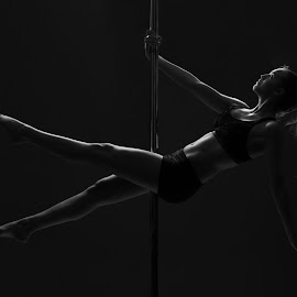 Frida by Andreas Anderson - Sports & Fitness Fitness ( studio, poledance, blackandwhite, girl, pole, polefitness )
