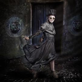 Night Stalker by Marie Otero - Digital Art People ( model, creative, grave, digital, graveyard, fantasy, london, female, digital art, dark, marie otero photography, costume, surreal, steampunk, otero )