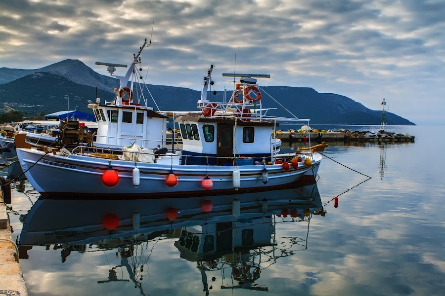 Fisherboat by Oguz Sevim - Transportation Boats ( reflection, fish, fisherboat, boat, greece fisherboat )