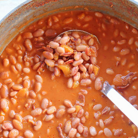 Pinto Beans with Peaches and Bacon