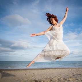 Touch The Sky by Mike Woodford - People Fine Art ( angel, reach, sky, fly, wings, levitate, hover, leap,  )