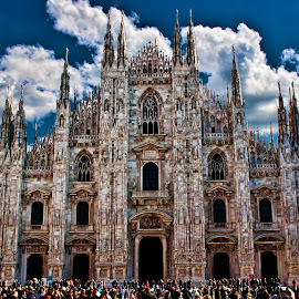 DUOMO MILANO  by Gianluca Presto - City,  Street & Park  Historic Districts ( gothic, dome, mediolanum, duomo, architecture, people, catholic, sky, great, italia, cloudy, architectural, cathedral, italy, milano, crowded, abbey )