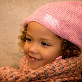 I'm over here by Joseph Belcher - Babies & Children Child Portraits ( winter, girl, cold, curls, mixed, scarf, smile )