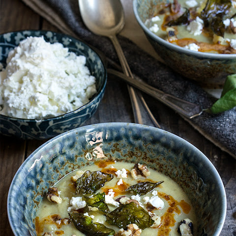 Cauliflower Fennel Soup {crispy Basil + Feta Cheese}