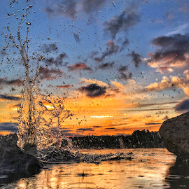 Water impact  by Rob King - Landscapes Sunsets & Sunrises ( orange, sunrise, drops, waterscapes, waterscape, splashing, droplets, sunset, water, splash )