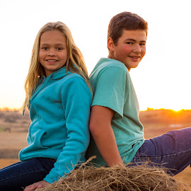 Sunset Siblings by Morne Kotze - Babies & Children Child Portraits