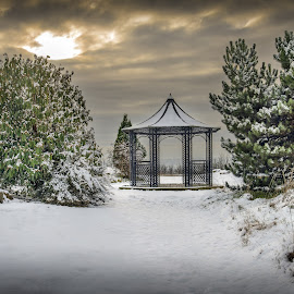 Gazebo In The Snow by Darrell Evans - City,  Street & Park  City Parks ( clouds, plant, undercliffe cemetery, grass, flora, green, white, stone, d600, winter, sky, bradford, snow, trees, monument, nikon, gazebo )