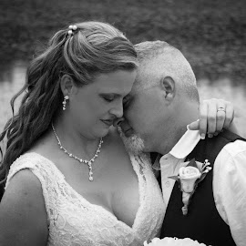 Celebrating Love by April Sadler - Wedding Bride & Groom ( #bride #groom #black and white #portrait #wedding  day )
