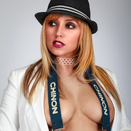 Reporter Katie by Vincent Yates - People Portraits of Women ( jacket, reporter, sexy, choker, straps, camera, hat,  )