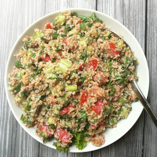 Vegetable Bulgur Salad with Minted Yogurt Dressing