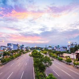 Pham Van Dong street over the sunset by Bảo Long - City,  Street & Park  Skylines ( skyline, street, vietnam, saigon, travel, city, asian, around, sky, sunset, astmosphere, cloud, light )