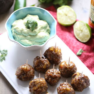 Cocktail Meatball Recipe with Avocado Dipping Sauce
