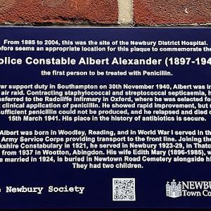 From 1885 to 2004, this was the site of the Newbury District Hospital. It therefore seems and appropriate location for this plaque to commemorate the life of Police Constable Albert Alexander ...